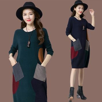 New Women Middle Long Style Oneck Sweater Dress Autumn/fall Maternity Dress Stylish Knitwear Jumper Dress Plus Size 3XL 4XL 5XL