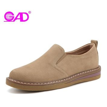 GAD Women Oxford Shoes Spring/Autumn Fashion Casual Slip-on Women Casual Shoes High Quality Suede Comfortable Women Flat Shoes
