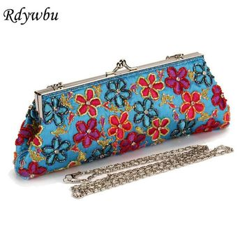 Rdywbu Women Casual Retro Embroidery Bags Handmade Flower Beaded Evening Satin Silk Handbag Wedding Party Clutch Purse Bolso H24