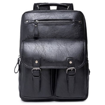 Backpack With PU Leather and Black Color Design