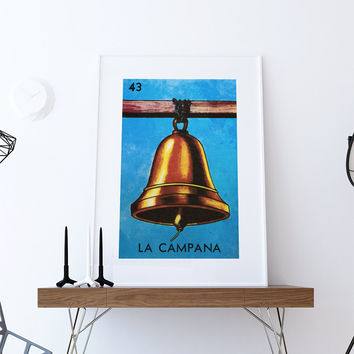 Loteria La Campana Mexican Retro Illustration Art Print Vintage Giclee on Cotton Canvas or Paper Canvas Poster Wall Decor