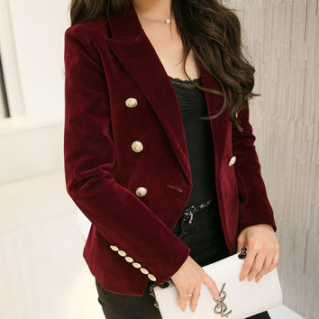 2016 New Spring Fashion Women Midnight Navy Slim Velvet Blazer Jacket Double Breasted Simple Lady Blazers High Grade OL Clothing