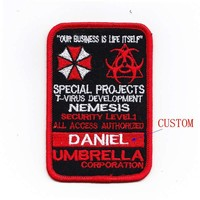 Custom name tapes Resident Evil Umbrella Corporation Badges patch B1987