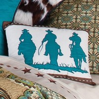 Cowboy Paisley 12X16 Three Cowboys Accent Pillow - Bedding Coordinates - Bedding