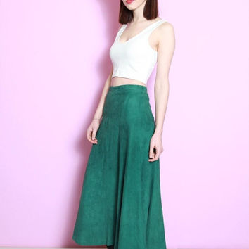 Vintage 1980's Emerald Green Soft Suede Flared Midi Skirt