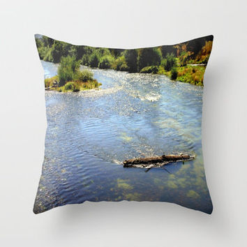 Floating Log Throw Pillow by Chris Chalk   Society6
