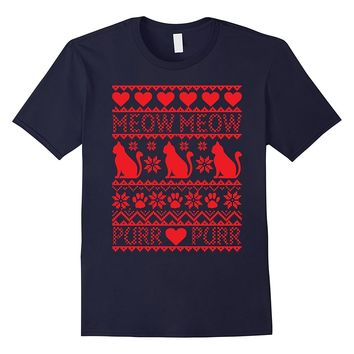 Merry Meowy Catmas Funny T-Shirt Cat Ugly Christmas Sweater