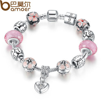 Charm Bracelet with Heart Pendant & Cherry Blossom