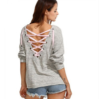 Gray Back Cross Strap Long Sleeve Sweater