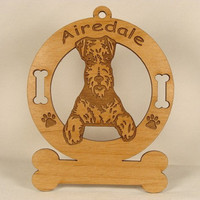 1065 Airedale Sitting Personalized Ornament
