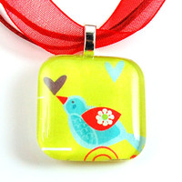 Bird with Hearts Necklace Glass Tile Pendant by whitneysdesigns
