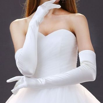Satin Long Finger Elbow Sun protection gloves Opera Evening Party Prom Costume Fashion Gloves black red white grey