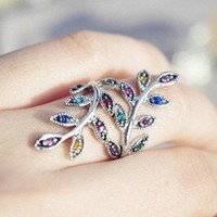 Extra colorful leaves crystal ring