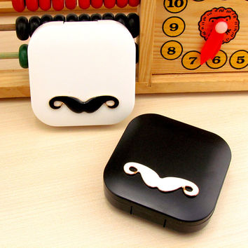 Hot Cute Cartoon Beard Travel Glasses Plastic Contact Lenses Box Travel Contact lens Case Eyes Care Kit Holder Container Gift