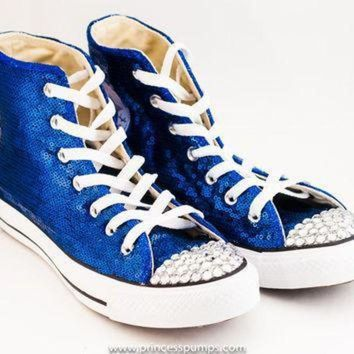 ICIKGQ8 royal blue sequin converse canvas hi top sneakers shoes with rhinestoned toes
