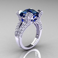 French Vintage 14K White Gold 3.0 CT London Blue Sapphire Diamond Pisces Wedding Ring Engagement Ring Y228-14KWGDLBS