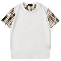 Burberry 2019 new plaid stitching men and women loose round neck half sleeve shirt white