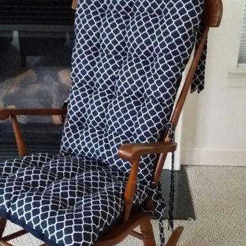 Custom Quatrefoil Rocking Chair Cushions, Glider Replacement Pads, Rocker Cushions, Wooden Rocking Chair Pads