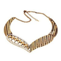 1PCS Unique design Cute Antique Bronze Snake Skin Rhinestone Bib Necklace