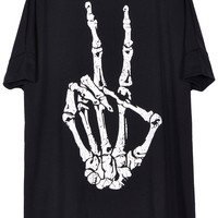 ROMWE Victory Skeleton Gesture Print Short-sleeved T-shirt