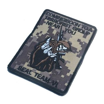 CUSTOM seal team VI death to the taliban skull camo acu patche hook  biker motorcycle  Patches tactical military   for vest coat