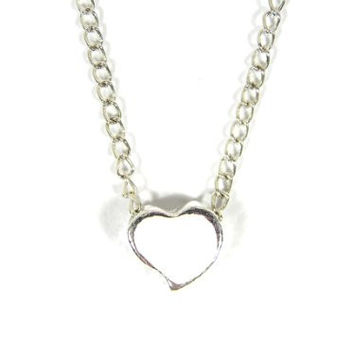 Tiny Heart Necklace White Sweetheart Love Romance NB38 Silver Tone Dainty Pendant Fashion Jewelry