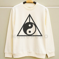 S M L - Yin Yang Shirts Deathly Hallows Shirts Funny Sweatshirt Jumpers Long Sleeve TShirts Sweater Unisex TShirts Women TShirts Men TShirts