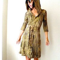 Going is Song - iheartfink Handmade Hand Printed Striped Art Print Hooded Wrap Dress