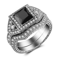 Caperci 2.0ct Princess-Cut Black CZ Diamond Wedding Engagement Ring Set White Gold Plated Sterling Silver