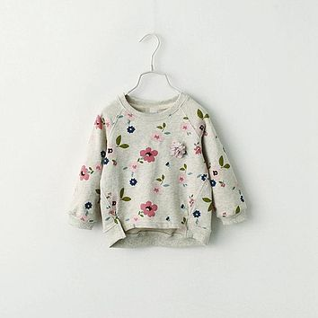 Spring Kids Children Outer Wear Sweatshirt,Flower Print Girls Pullover Baby Tops Clothes,Long Sleeves T-shirt Baby Girls Sweater