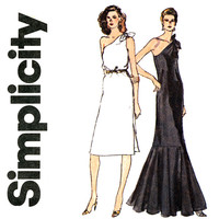 1980s Dress Pattern Bust 34 Simplicity 9804 One Shoulder Evening Sheath Dress Ruffled Fishtail Mermaid Hem Womens Vintage Sewing Patterns