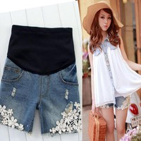 Maternity Shorts for Pregnant Wo Summer Denim Shorts Fashion Pregnancy Clothes Shorts Jeans Prop Belly Pants RK0084 smileseller