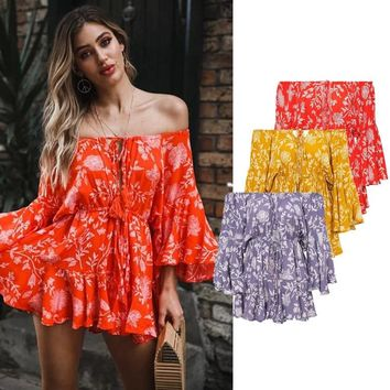 Boho Floral Print Lace Up Romper Women Jumpsuits Off Shoulder Slash Neck Playsuits Long Sleeve Beach Loose Overalls For Woman