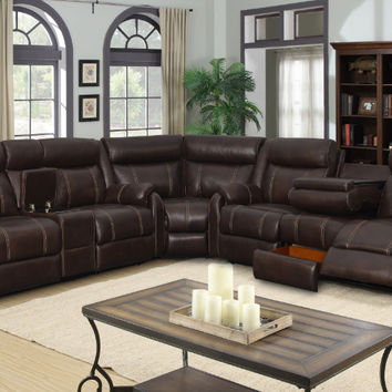 7 pc Jackson collection brown leather gel upholstery with recliner ends sectional sofa