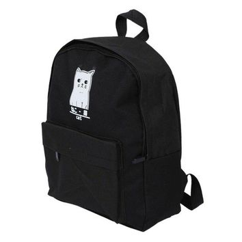 University College Backpack Fashion Women's  Wind canvas Shoulders (Black Cat) T1568AT_63_4