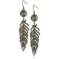 Disney Couture Pave Feather Dangling Earrings With Pocahontas Coin - designer shoes, handbags, jewelry, watches, and fashion accessories | endless.com