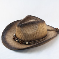 Dropship Light Weight Paper Woven Cowboy with Beaded Band Hat