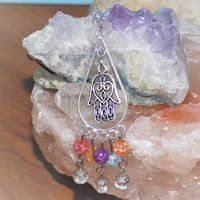 Hamsa Hand Chandelier Chakra Colored Bead Neckalce - Silver Pagan / Wiccan Amulet