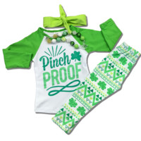 "St Patrick's Day ""Pinch Proof"" Outfit XS 18-24M"