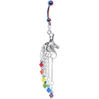 Rainbow Unicorn Dangle Belly Ring MADE WITH SWAROVSKI ELEMENTS | Body Candy Body Jewelry