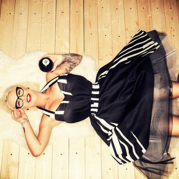 Rockabilly 1950s Tea Lenght Pin Up Black and Stripes Wedding, Bridesmaid, Prom Plus Size Corset Dress