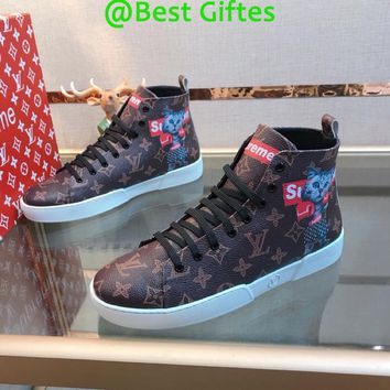 LV Louis Vuitton Men High Top Monogram Casual Boots Sneakers Sport Shoes  Fashion Best Quality BROWN