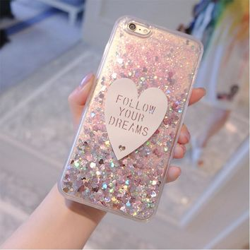 "Mobile phone shell transparent glitter phone case quicksand flowing liquid protective CASE for iphone 5 5s 6 4.7"" 6plus 5.5 """