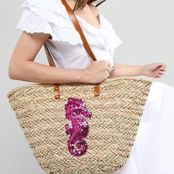 Vincent Pradier Seahorse Structured Straw Beach Bag at asos.com