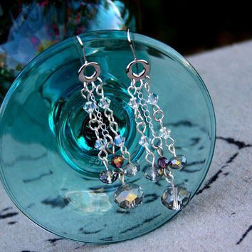Handmade Bridal Sparking Swarovski Crystal Dangle Earrings Platinum | peaceloveandallthingsjewelry - Jewelry on ArtFire