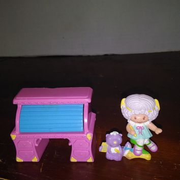 vintage strawberry shortcake mini miniature angel cake deluxe with desk pvc