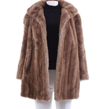 "Faux Fur Coat Blonde Mink Coat 80s Clothing Swing Coat Car Coat Vegan Fur Jacket Made in the USA Vintage Clothing Women's Size - XL 46"" Bust"