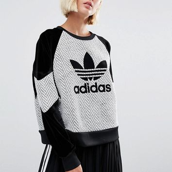 adidas Originals Wool Contrast Panel Sweatshirt With Trefoil Logo at asos.com