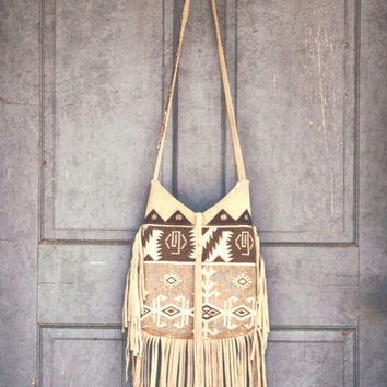 Apache Wind Shoulder Bag Leather fringe Tote Tribal Print Cream Grey Wild Free Spirit  Desert Western Cowgirl Rustic Satchel