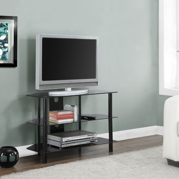 "Tv Stand - 36""L - Black Metal With Tempered Black Glass"